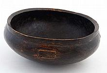 An African Native tribal carved adzed wooden bowl