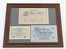 German Notes: A Framed set of three German Banknot