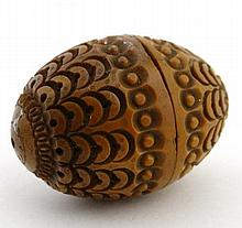 A carved walnut 2-part pomander 2 1//8