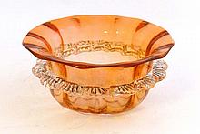 A Victorian copper red glass bowl with pressed