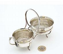 A silver plate strawberry set comprising cream jug