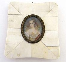 Italian Ivory : an oval miniature on ivory of a