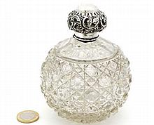 A cut glass scent bottle of spherical form with HM