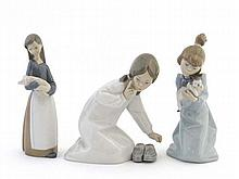 A collection of 3 Lladro items comprising a girl