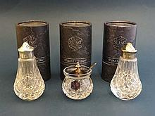 Stuart Crystal : 3 cased silver plate and crystal