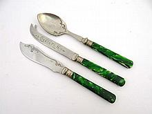 Early 20thC flatware comprising cheese knife