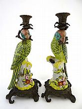 A pair of Bisini Parrot figurine candlesticks,