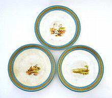 A set of Royal Worcester plates, hand painted