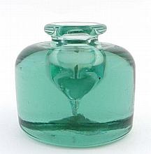 A 19thC Aqua glass heavy inkwell / paperweight