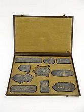 Chinese : An early 20thC cased set of 10 basalt
