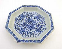 A Chinese octagonal shaped dish decorated in blue