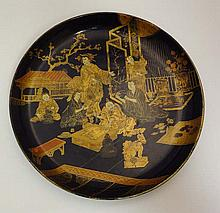 An early - mid 20thC Japanese lacquered circular