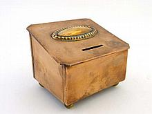 A 19thC copper money box with spherical feet 4