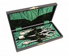 Cased HM silver manicure items comprising silver