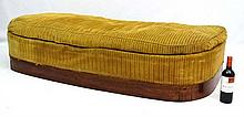 A 1930's French upholstered day bed / window seat with walnu