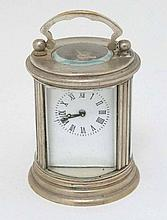 Miniature White metal cylindrical carriage clock :  a white
