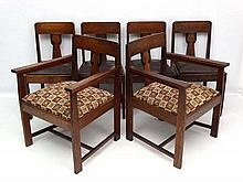 Art Deco : A  set of 6 (4+2) oak dining chairs with upholste