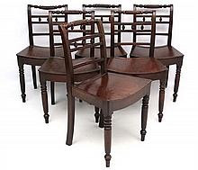 A set of 6 Geo IV mahogany dining chairs with dished solid s