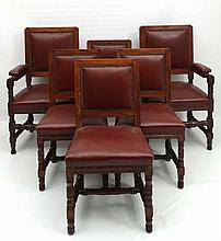 A set of 6 (2+4)  early 20thC oak and leather dining chairs.