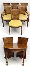 Drexel heritage furniture :  A walnut quarter veneered and c