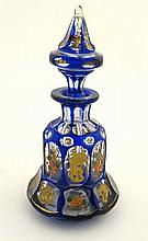 19 th C Bohemian scent bottle :  a hand painted and facet cu