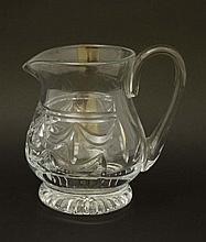 Royal Brierley:  A large cut crystal jug with loop handle. S
