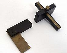 Donovan : 2 miniature woodworking tools of brass and ebony c