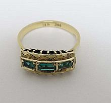 An 18ct gold ring set with 3 graduated baguette cut emeralds
