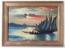 Indian XX Gouache Fishing at sunset Bears '