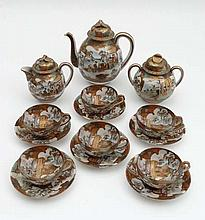 A set of Japanese Satsuma tea service comprising