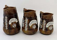 A set of three 19thC graduated treacle glaze
