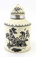 A late 18thC Leeds cream ware tea caddy, with
