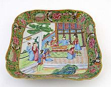 A square shaped Cantonese polychrome dish painted