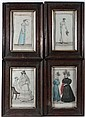 A set of 4 hand coloured French Costume Parisien