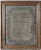 Silk Sampler : ' Jane Meal 1821 , Norwich ' a hand