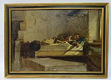 Jean Pierre Alexandre Antigna (1817-1878) French, Oil on canvas, ' Jeune Homme Endormi ' (