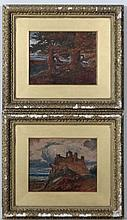 J Johnson 1879,  Pair of Watercolours , gouache and Gum Arabic,  ' Beeston Castle ' and ' Giants of the Forest '