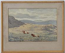 Rose Margaret Redgrave ( 1811-1899 ),  Watercolour,  Landscape with cattle,  Initialled lower right,  6