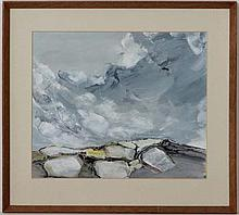 D Tromp XX,  Gouache,  Abstract clouds and fields,  Signed lower right,  13 1/2 x 16