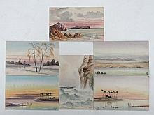 Set of 6 original watercolours on post cards c 1920. Initialled ' W.H. '' Views including : 'The White  Nile', 'Sunset o