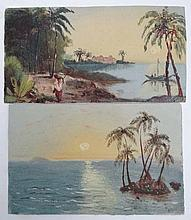 Two small oil paintings on card , tropical scenes , removed from a scrap book c 1890 (2) Each approximately 3 1/4 x 6