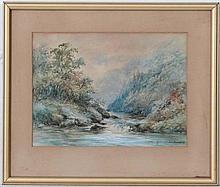 E F Hancock XIX-XX,  Watercolour,  River Landscape,  Signed lower right,  7 x 9 1/2