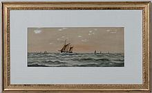 J Russell XX maritime,  Watercolour and gouache,  A fishing boat at sea with others,  Signed lower right