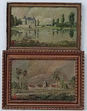 American School XIX -XX,  2 x Oil on panels,  French landscapes, Chateau and Lake & Village landscape,  Both