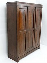 Early 20thC mahogany triple wardrobe, the right hand door opening to reveal  3 linen slides and drawers under , the left