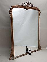 A 19thC large gilt framed wall mirror with beaded harebell and scrolling acanthus decoration. Approx 60