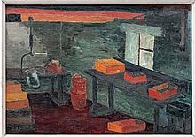Greta Pennington XX,  Oil on board , pallet knife,  ' The Kippery , Ullapool ' Scotland,  Titled and named w