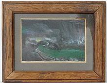 Indistinctly Signed Early XX,  Gouache,  Country Vista ,  Signed lower right,  2 1/2 x 3 3/4
