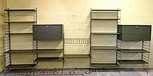Vintage retro : A Green Ladderax  style , 5 division Modular set of wall shelves with magazine rack , cupboards etc each