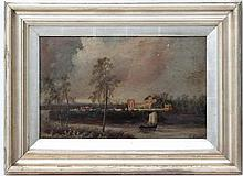 F Nixon late XIX,  Oil on board,  ' View of Lord Kilw... from the Surrey Side. .... the residence of the 4 King